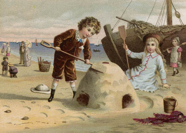 A boy and a girl, dressed in their best clothes, build a castle on a sandy beach Date: circa 1880 Source: greeting card by unnamed artist